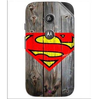 Snooky Printed Wood Super man Pvc Vinyl Mobile Skin Sticker For Motorola Moto E2