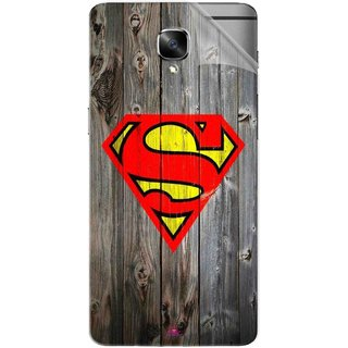 Snooky Printed Wood Super man Pvc Vinyl Mobile Skin Sticker For OnePlus 3
