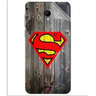Snooky Printed Wood Super man Pvc Vinyl Mobile Skin Sticker For Intex Aqua Q7