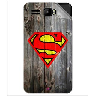Snooky Printed Wood Super man Pvc Vinyl Mobile Skin Sticker For Intex Aqua R3