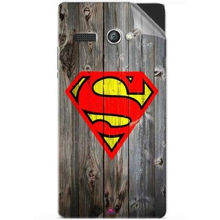 Snooky Printed Wood Super man Pvc Vinyl Mobile Skin Sticker For Lava Flair P1