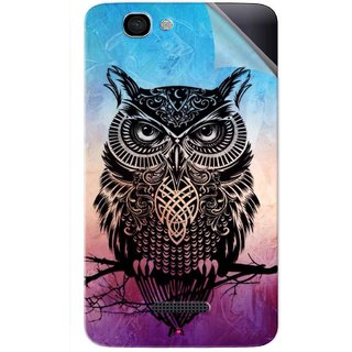 Snooky Printed warrior owl Pvc Vinyl Mobile Skin Sticker For Micromax Canvas 2 A120