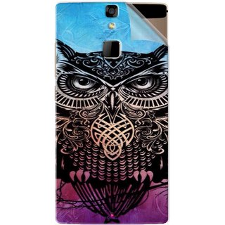 Snooky Printed warrior owl Pvc Vinyl Mobile Skin Sticker For Micromax Canvas 6