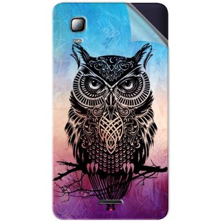 Snooky Printed warrior owl Pvc Vinyl Mobile Skin Sticker For Micromax Canvas Doodle 3 A102