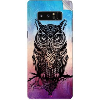Snooky Printed warrior owl Pvc Vinyl Mobile Skin Sticker For Samsung Galaxy Note 8