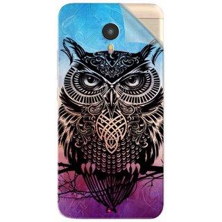 Snooky Printed warrior owl Pvc Vinyl Mobile Skin Sticker For Micromax YU Yunicorn