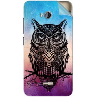 Snooky Printed warrior owl Pvc Vinyl Mobile Skin Sticker For Micromax Bolt Q336