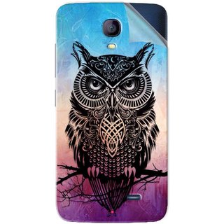 Snooky Printed warrior owl Pvc Vinyl Mobile Skin Sticker For Micromax Bolt Q383