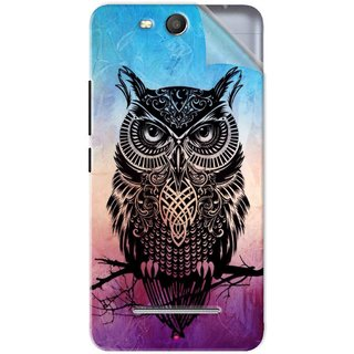 Snooky Printed warrior owl Pvc Vinyl Mobile Skin Sticker For Micromax Bolt Q392