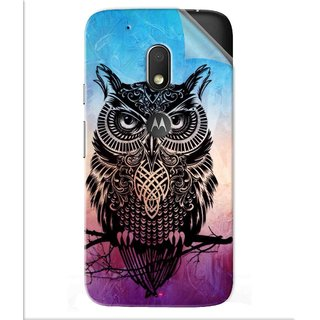 Snooky Printed warrior owl Pvc Vinyl Mobile Skin Sticker For Motorola Moto G4 Play