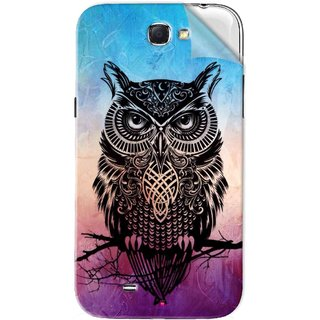 Snooky Printed warrior owl Pvc Vinyl Mobile Skin Sticker For Samsung Galaxy Note 2