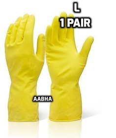 Rubberex Latex Household Rubber Hand Gloves, Large, 1 Pair, Yellow