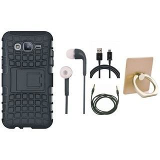 Oppo A37 Shockproof Kick Stand Defender Back Cover with Ring Stand Holder, Earphones, USB Cable and AUX Cable
