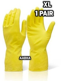 Household Latex Gloves Waterproof Kitchen Washing Cleaning Gloves Rubber Cleaning Tools, Size XL( 1 Pair )