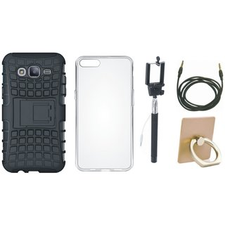 Oppo A37 Shockproof Tough Armour Defender Case with Ring Stand Holder, Silicon Back Cover, Selfie Stick and AUX Cable