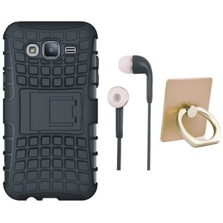 Redmi A1 Shockproof Kick Stand Defender Back Cover with Ring Stand Holder, Earphones