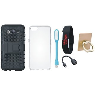 Oppo A37 Shockproof Kick Stand Defender Back Cover with Ring Stand Holder, Silicon Back Cover, Digital Watch, OTG Cable and USB LED Light