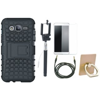 Oppo A37 Shockproof Kick Stand Defender Back Cover with Ring Stand Holder, Free Selfie Stick, Tempered Glass and AUX Cable