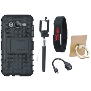Oppo A37 Dual Protection Defender Back Case with Ring Stand Holder, Selfie Stick, Digtal Watch and OTG Cable