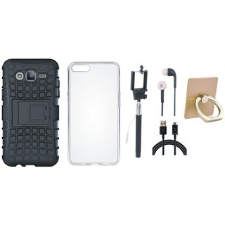 Oppo A37 Dual Protection Defender Back Case with Ring Stand Holder, Silicon Back Cover, Selfie Stick, Earphones and USB Cable