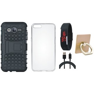 Oppo A37 Shockproof Tough Defender Cover with Ring Stand Holder, Silicon Back Cover, Digital Watch and USB Cable
