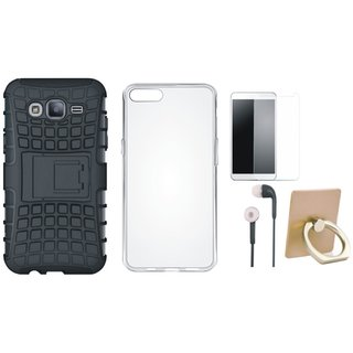 Oppo A37 Shockproof Tough Defender Cover with Ring Stand Holder, Silicon Back Cover, Earphones and Tempered Glass