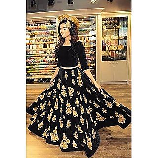 RISE ON FAB Designer Black Color Velvet Material Embroidered semi-stitched lehenga for women (MS BLACK)