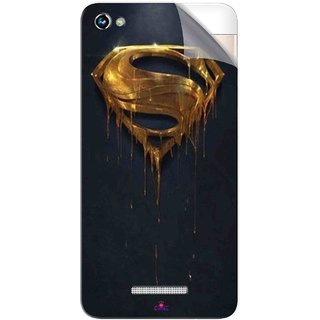 Snooky Printed Gold Super Man Pvc Vinyl Mobile Skin Sticker For Micromax Canvas Hue 2