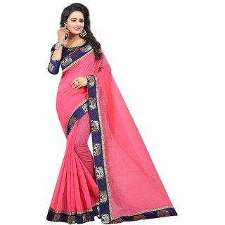 Pari Designerr Pink Chanderi Cotton Kalamkari  Saree With Jacquard Blouse(JAQHATHIPINK)