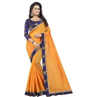 Pari Designerr Orange Chanderi Cotton Kalamkari Saree With Jacquard Blouse (JAQROSEORANGE)