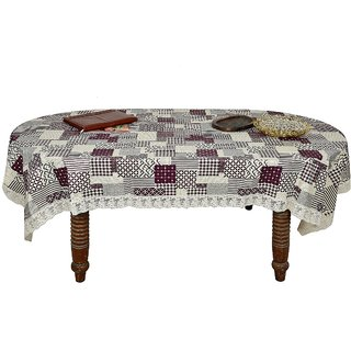 Winner Dinning Table Cover Plastic Waterproof PVC Floral Print with White Lace, Size- 60x90 inch, Table Cover-30005143