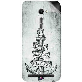 Snooky Printed everything happens for a reason Pvc Vinyl Mobile Skin Sticker For Asus Zenfone 2 ZE500CL 5.0