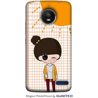 Printed Mobile Phone Back Cover Case for Moto E4 by GoNITEO || Jazzy || Girl || Orange ||