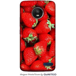 Printed Mobile Phone Back Cover Case for Moto E4 by GoNITEO || Strawberry || Fruit || Red ||