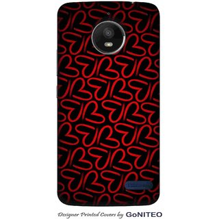 Printed Mobile Phone Back Cover Case for Moto E4 by GoNITEO || Hearts || Red || Black ||