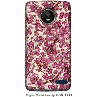 Printed Mobile Phone Back Cover Case for Moto E4 by GoNITEO || Magenta || Flowers || White ||