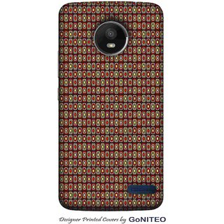 Printed Mobile Phone Back Cover Case for Moto E4 by GoNITEO || Circles || Brown || Tribal ||