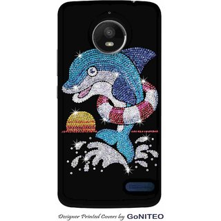 Printed Mobile Phone Back Cover Case for Moto E4 by GoNITEO || Dolphin || Bling || Black ||