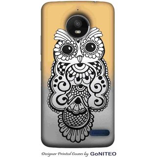 Printed Mobile Phone Back Cover Case for Moto E4 by GoNITEO || Owl || Art || Drawing ||
