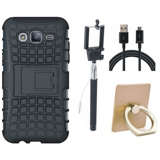 Vivo V7 Shockproof Kick Stand Defender Back Cover with Ring Stand Holder, Selfie Stick and USB Cable