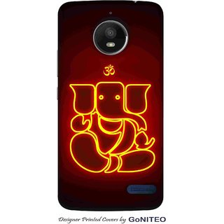 Printed Mobile Phone Back Cover Case for Moto E4 by GoNITEO || Ganesha || Lord || Om ||