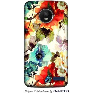 Printed Mobile Phone Back Cover Case for Moto E4 by GoNITEO    Flowers    Painting    Multi Color   