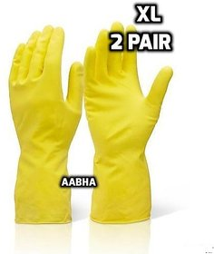Rubberex Latex Household Rubber Hand Gloves, XL, 2 Pair, Yellow
