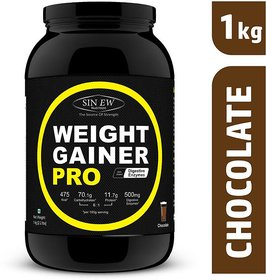 Sinew Nutrition Weight Gainer Pro with Digestive Enzymes, Chocolate, 1Kg Weight Gainers