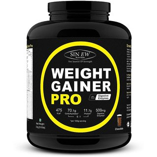 Sinew Nutrition Weight Gainer Pro with Digestive Enzymes, Chocolate, 3Kg Weight Gainers