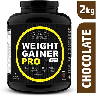 Sinew Nutrition Weight Gainer Pro with Digestive Enzymes, Chocolate, 2Kg Weight Gainers