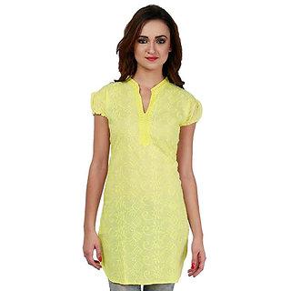 Haniya Chikankari Lemon Yellow Tunic Top Cotton Kurti