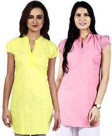 Haniya Chikankari Tunic Top Cotton Kurti Combo (Lemon Yellow & Rose Pink)