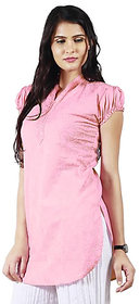 Haniya Chikankari Rose Pink Tunic Top Cotton Kurti