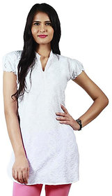 Haniya Chikankari Pearl White Tunic Top Cotton Kurti